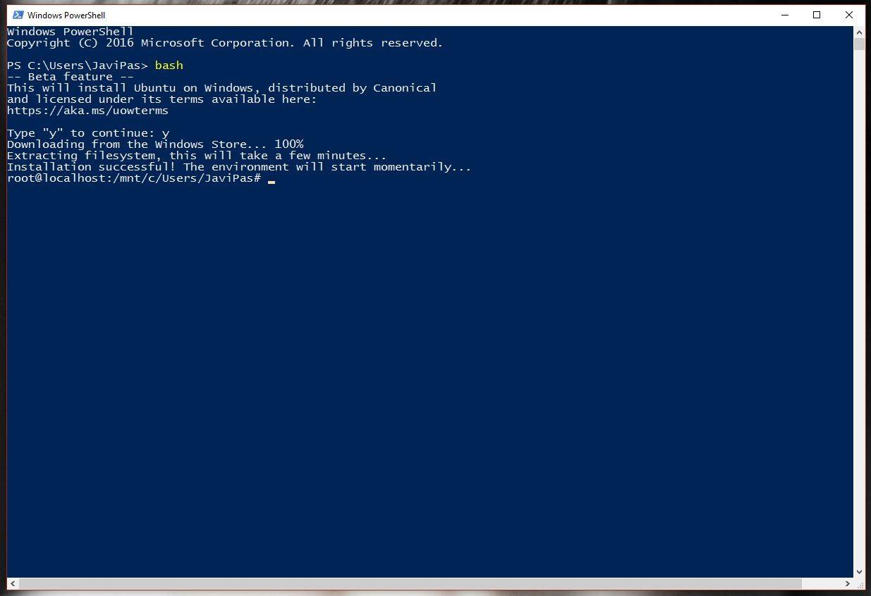 Bash de Linux en Windows